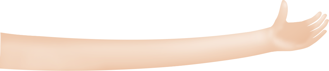 A 3D illustration of a hand and extended arm.