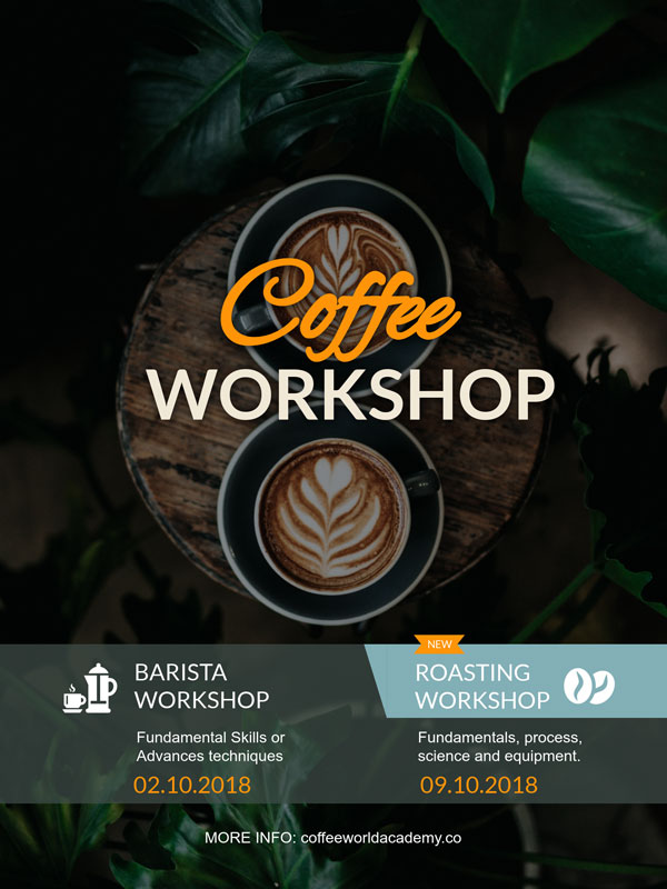 coffee workshop poster template visme