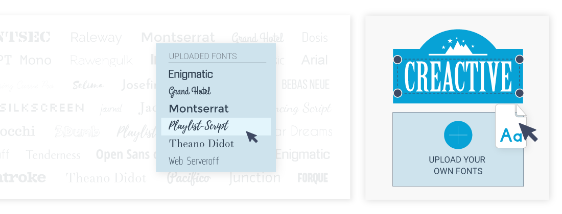 The free font library available in Visme's design editor.