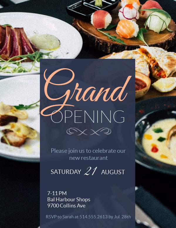 invitation template grand opening restaurant business