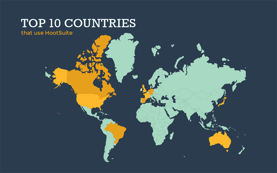 map top countries that use hootsuite