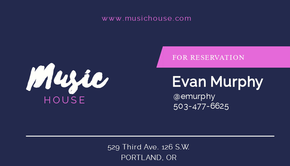 music house business card template