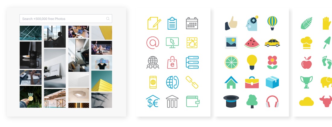 The free photo and icon library available in Visme's design editor.