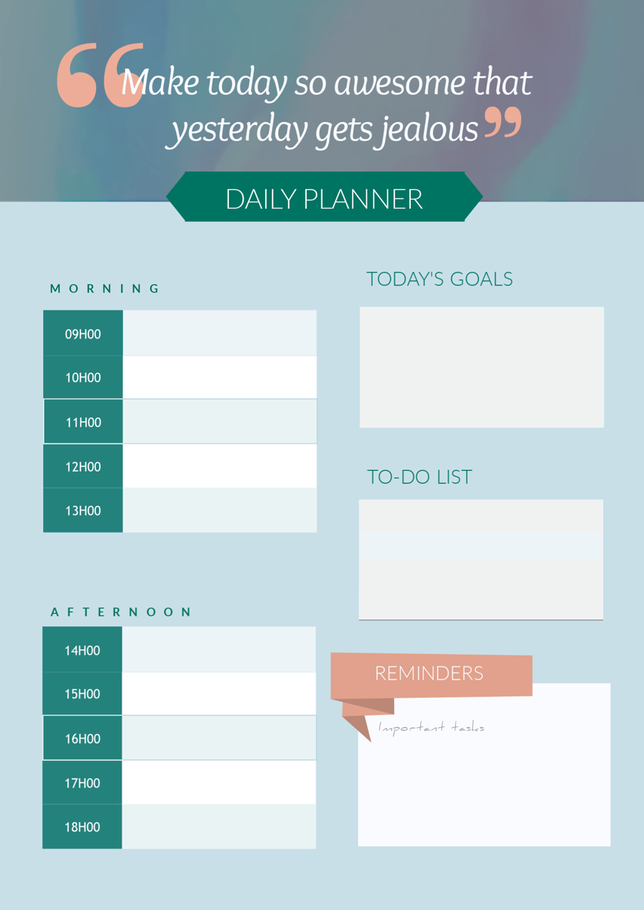 daily planner template quote