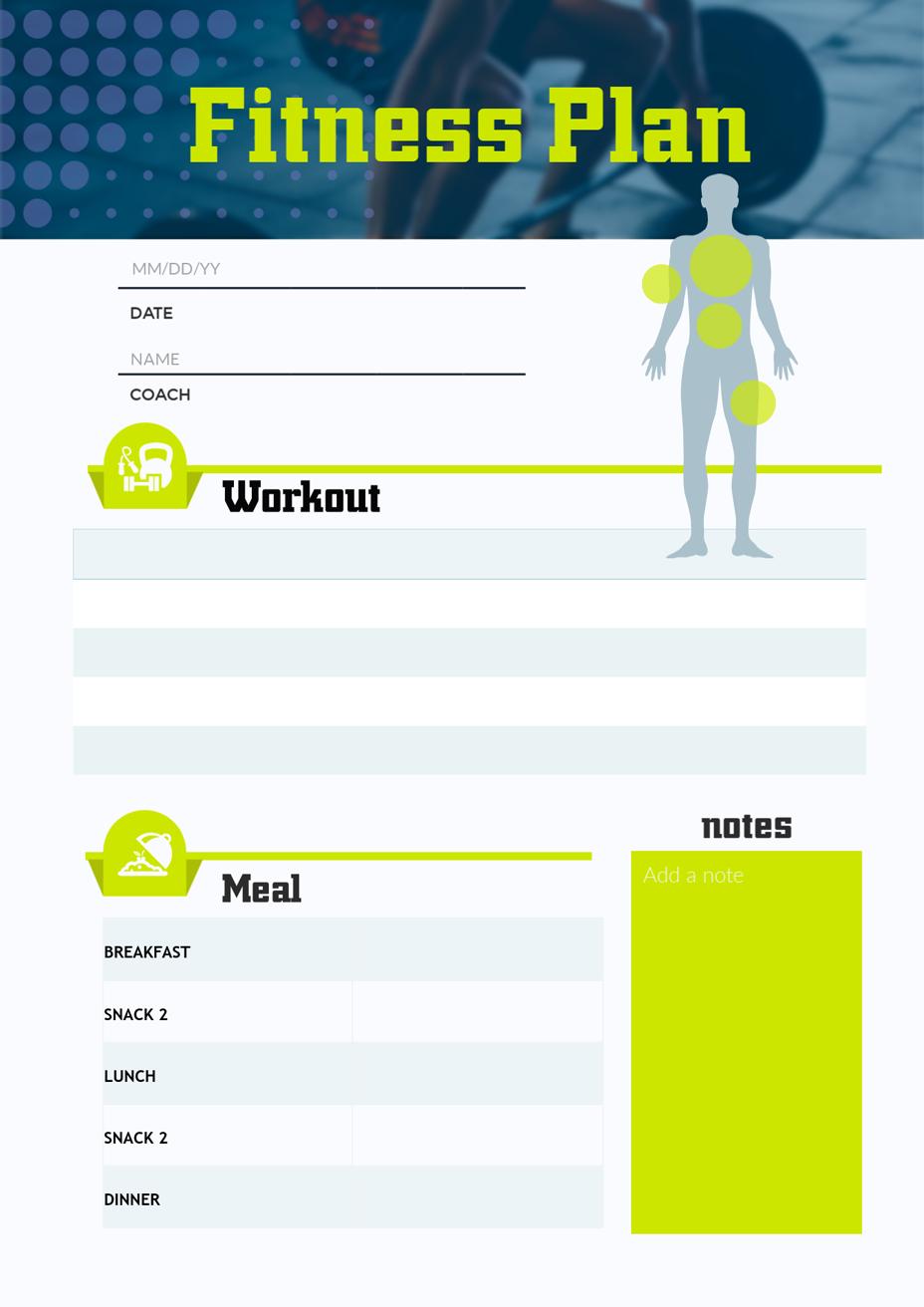fitness plan schedule template