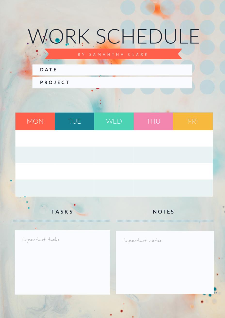 work schedule template