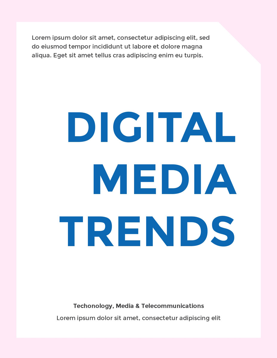 blue and white digital media trends ebook template visme