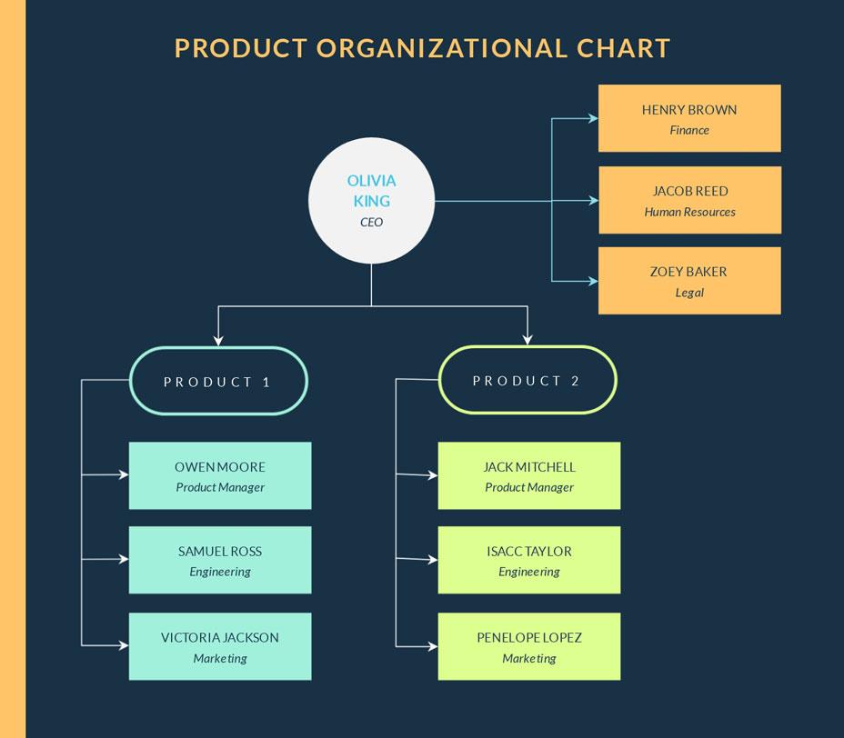 product organizational chart template. visme