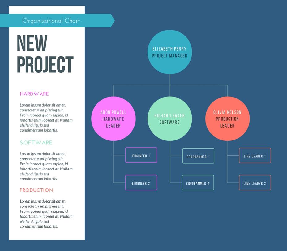project management organizational chart template visme