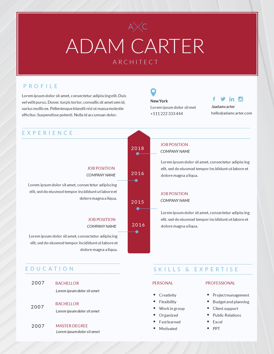 red and white architect resume template visme