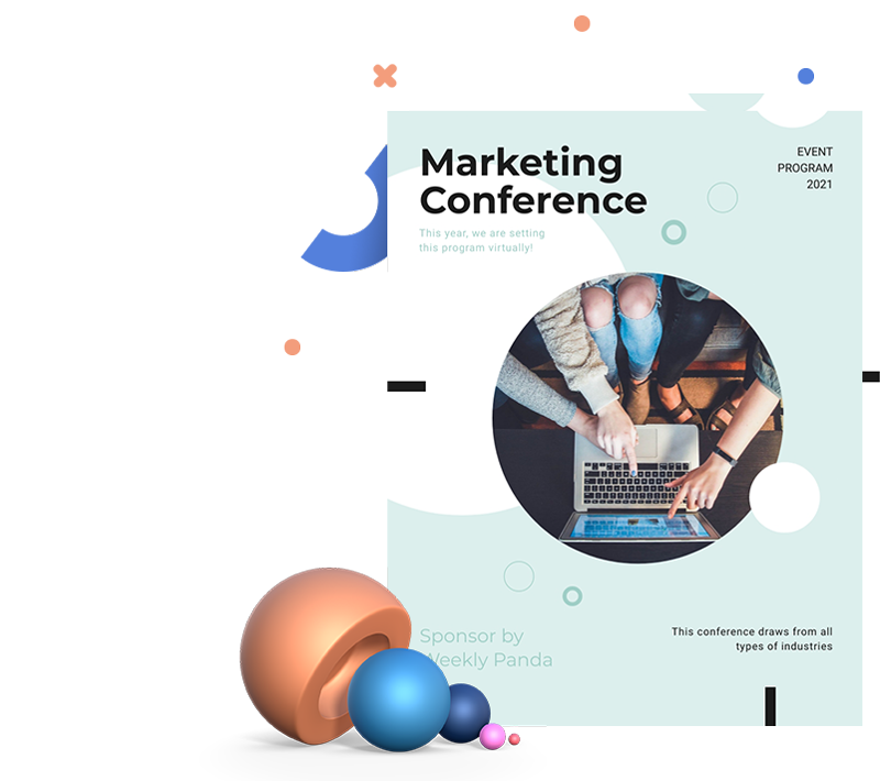 A blue and white marketing conference event program template available in Visme.