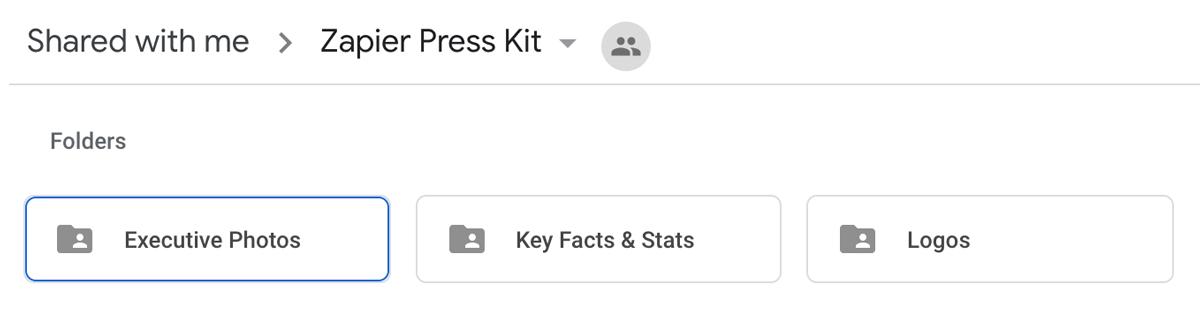 A screenshot of Zapier's media kit in Google Drive.