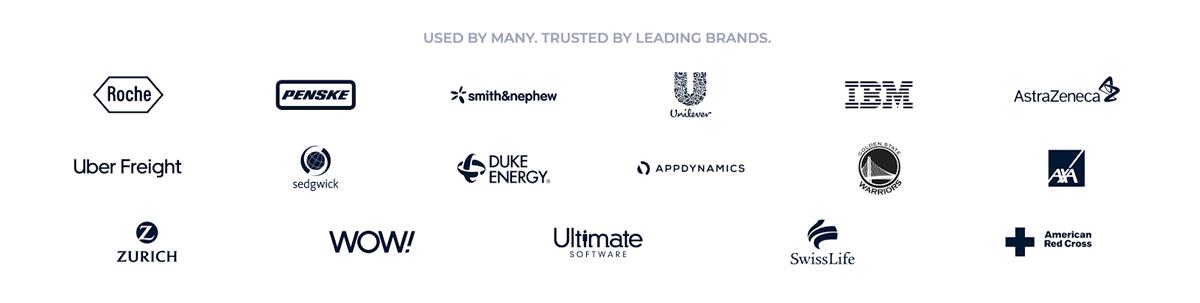 A screenshot of several companies that use Visme.