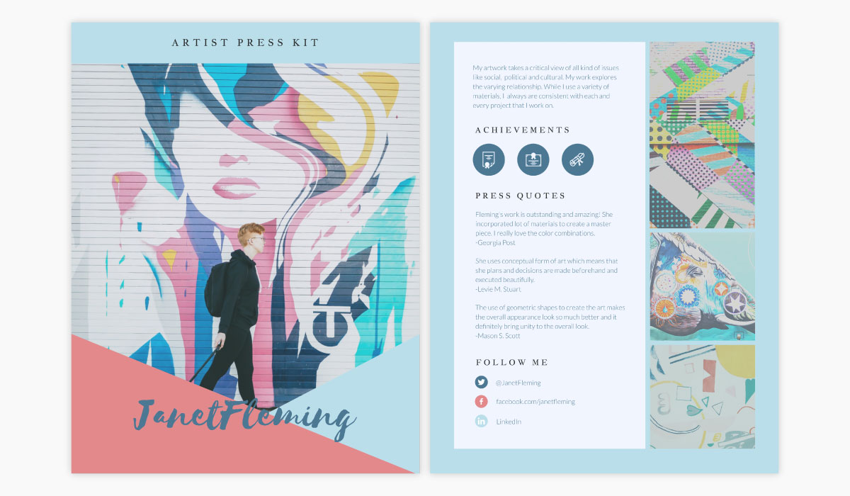 A pink and blue artist media kit template available in Visme.