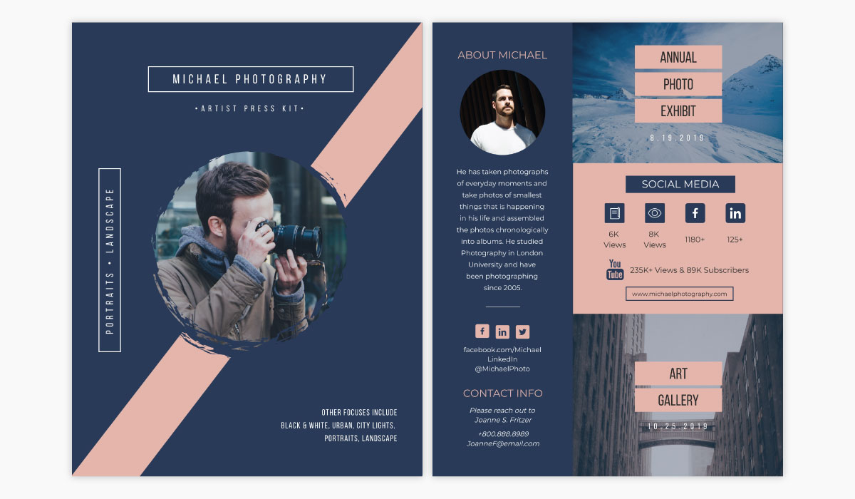 A pink and dark blue media kit template available in Visme.