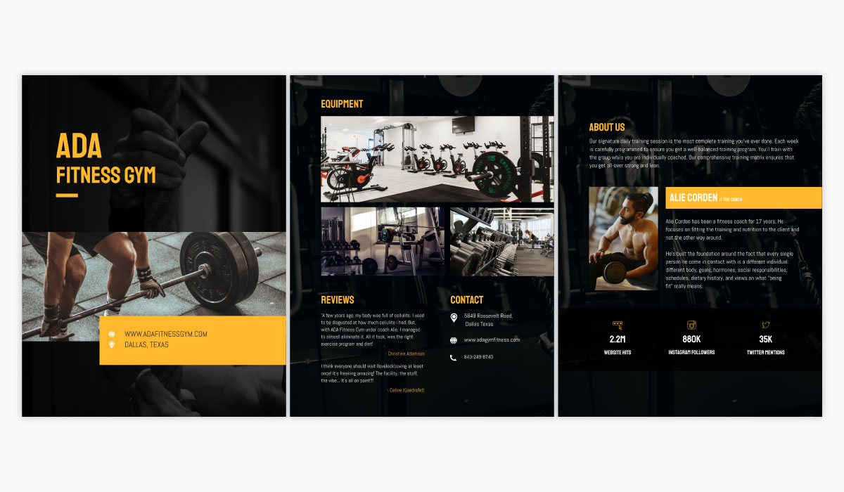 A black and yellow gym media kit template available in Visme.