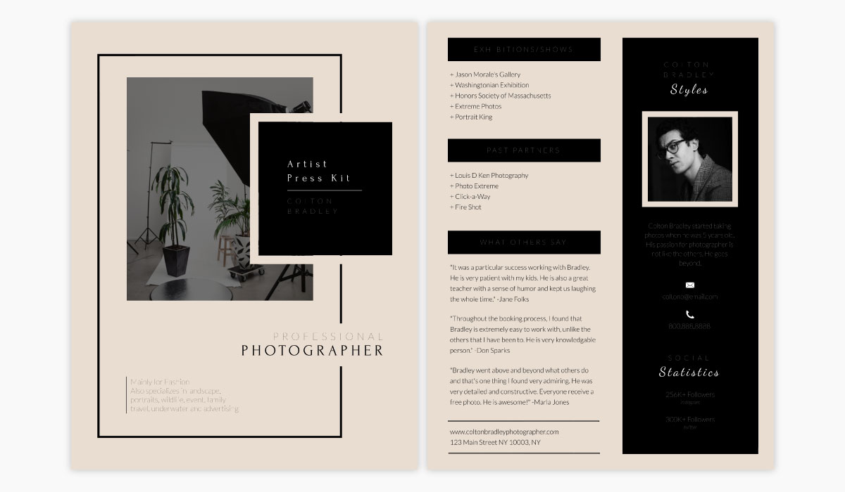 A beige and black media kit template available in Visme.