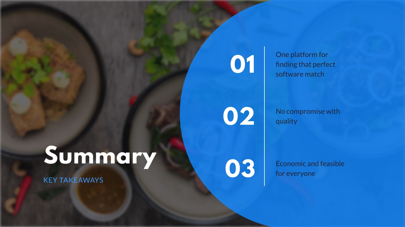 Summary slide in the startup pitch deck theme available in Visme.