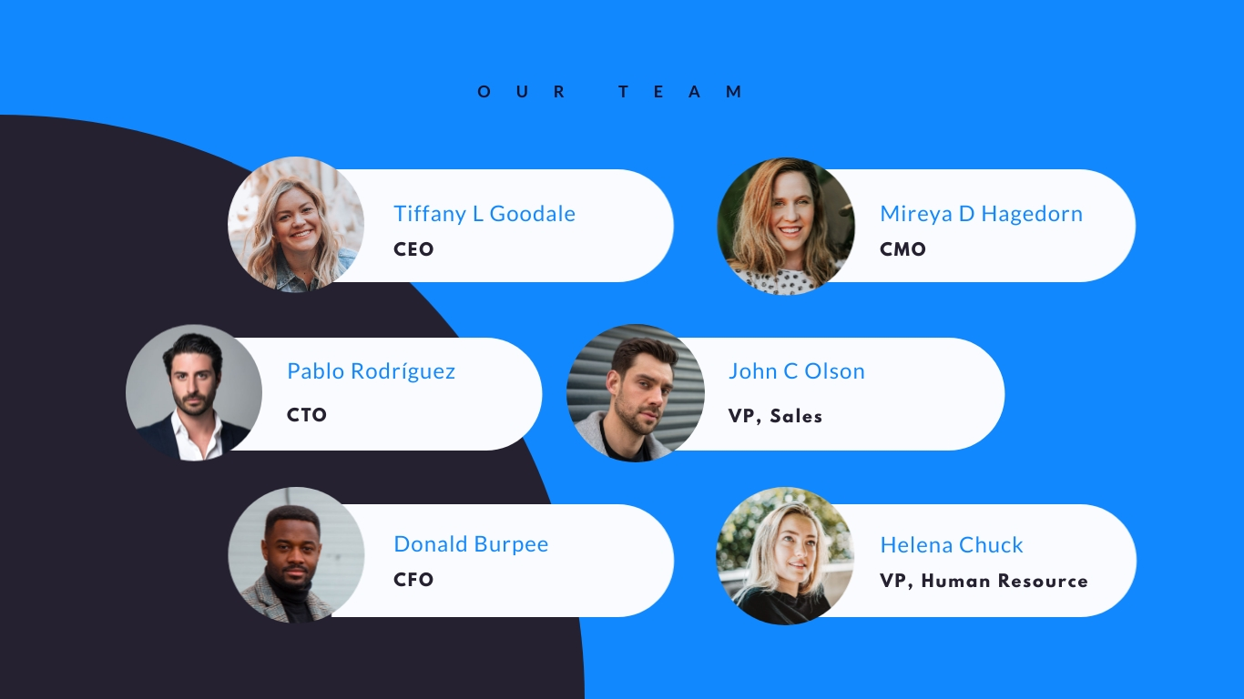 Team slide in the startup pitch deck theme available in Visme.