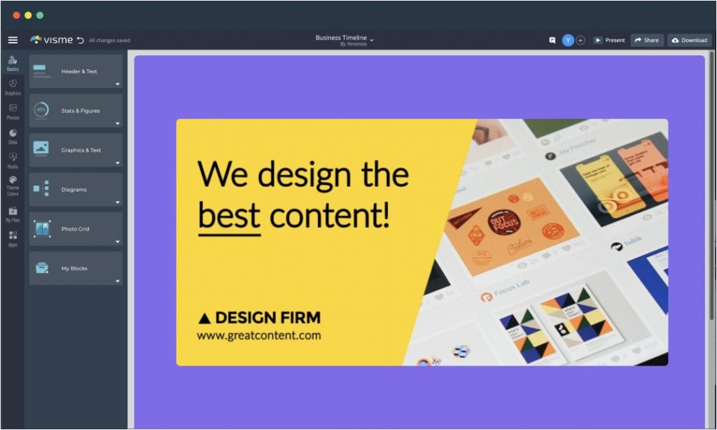 A GIF template open in Visme's editor.