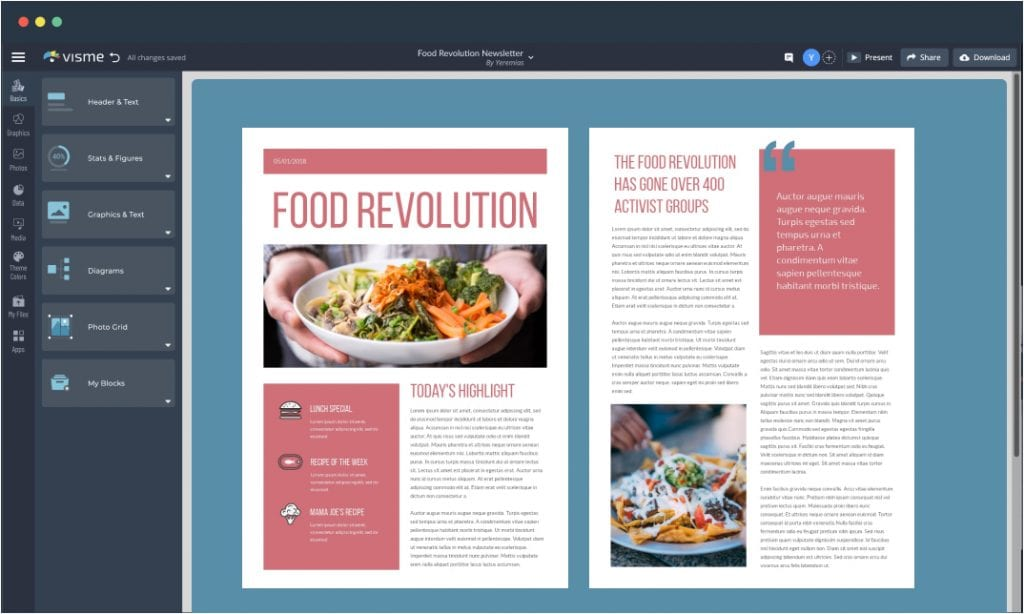 A newsletter template open in Visme's editor.