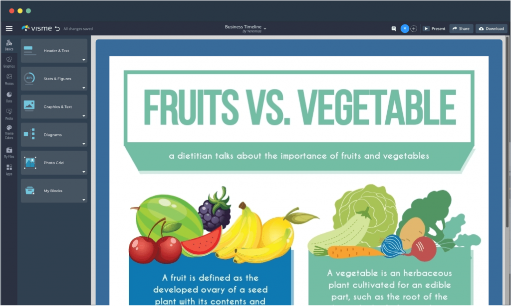 A fruits vs. vegetables comparison chart template available in Visme.