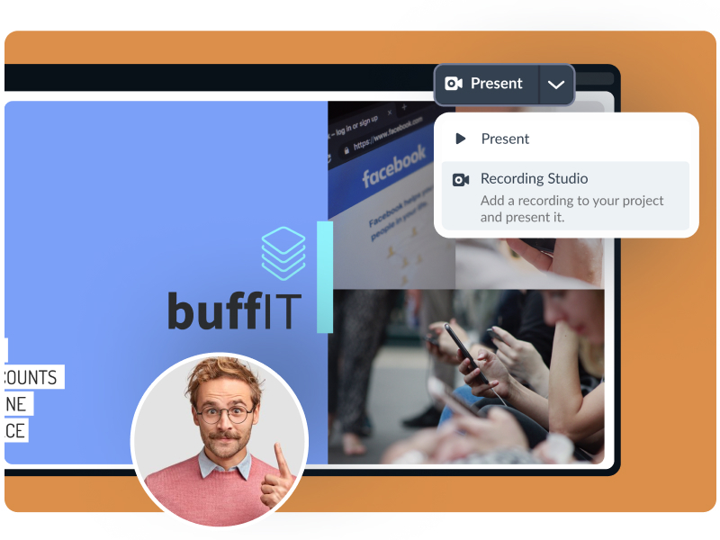 Record yourself presenting and send to your viewers